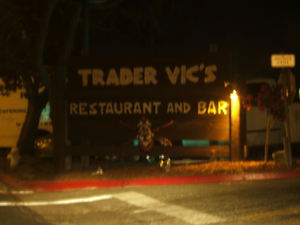Sign at the entrance to Trader Vic's in Emeryville