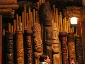 Wall of tikis at Trader Vic's in Emeryville