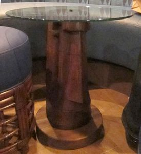 Moai table base in the bar at Trader Vic's in Emeryville