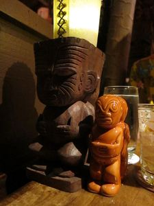 Tiki lamp and salt & pepper shakers at Trader Vic's in Emeryville