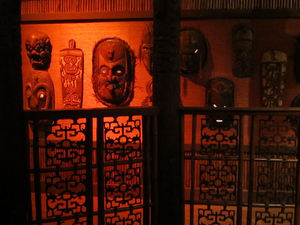 Papua New Guinea masks along the back hallway at Trader Vic's in Emeryville