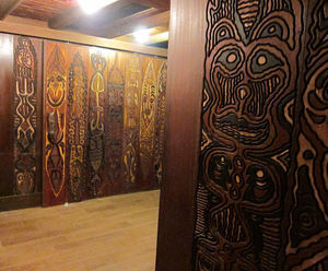 Carved panels at the entrance to the Captain Cook Room at Trader Vic's in Emeryville