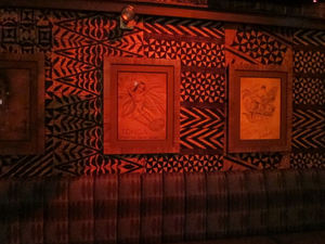 Old Trader Vic's artwork in the bar at Trader Vic's in Emeryville
