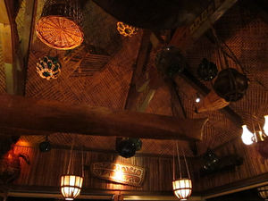 Ceiling decor in the bar at Trader Vic's in Emeryville