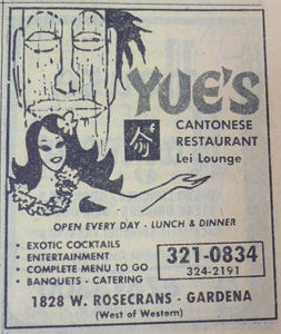 Phone book ad for Yue's Cantonese Restaurant in Gardena