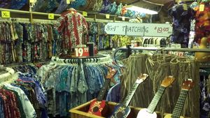 Shirts and ukuleles at Exotical Hawaiian Apparel in Downey