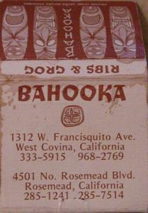 Matchbook from Bahooka