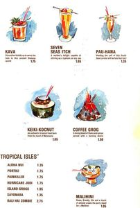 Tropical drink menu from the Bali Hai portion of Ports of Call in Toronto