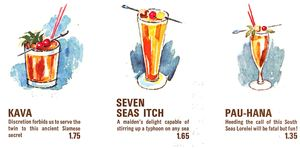 Detail of drink menu from Ports of Call in Toronto
