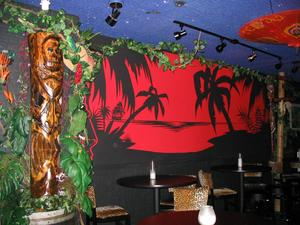 Tiki and wall mural at the Rendez'vous in Kenosha