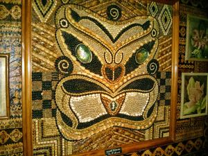 Maori-style seashell mosaic at Kona Club in Oakland