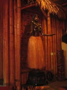 Life-size bronze hula girl, with swivelling hips, at Kona Club in Oakland