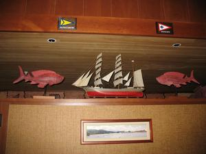 Ship on wall separating the kitchen from the dining area at Trader Vic's in Bellevue