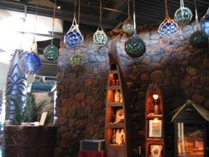 Glass floats in the waiting area at Trader Vic's in Scottsdale