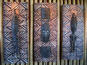 Papua New Guinea masks and carvings at Trader Vic's in Scottsdale