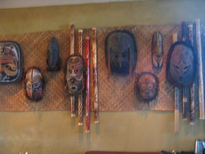 Wall of masks at Trader Vic's in Scottsdale