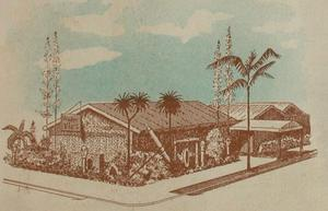 Artist's rendering of the original Trader Vic's in Oakland
