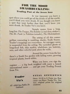 "Write-up for Trader Vic's in Oakland from the guide book ""Where to Sin in San Francisco"""