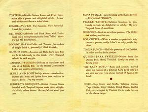 Drink menu from Trader Vic's in Oakland