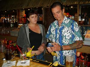 Bartender Jill and owner Byron at Puka Bar in Long Beach