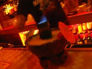 Pele's Punch served in a Munktiki volcano bowl at Puka Bar in Long Beach