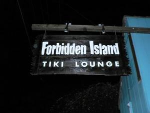 Sign for Forbidden Island Tiki Lounge in Alameda