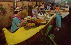 Postcard showing the Outrigger buffet at Kona Inn in Kona