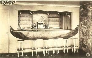 Old postcard of the Outrigger Bar at Kona Inn in Kona
