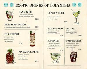 Drink menu from the Beverly Hills Hotel Lounge