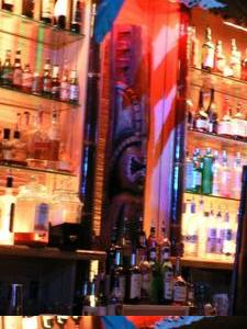 Tiki behind the bar at Smoke Tiki in San Jose