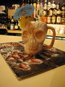Zombie served in skull mug at Tropical Bistro in Hilliard