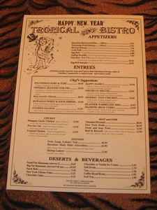 Special menu for New Year's Eve from Tropical Bistro in Hilliard