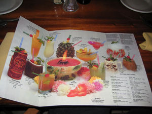 Drink menu at Tropical Bistro in Hilliard