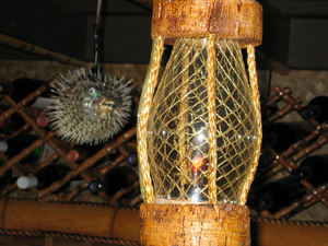 Pufferfish and float lamps at Tropical Bistro in Hilliard