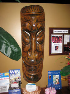 Tiki mask at Tropical Bistro in Hilliard