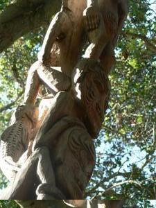 Detail of carved pole at Papua New Guinea Sculpture Garden in Palo Alto