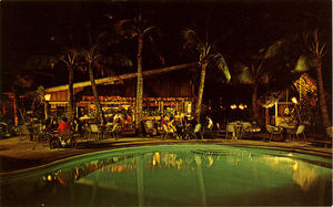 1960s postcard with a poolside view of Tahitian Lanai and Papeete Bar in Waikiki