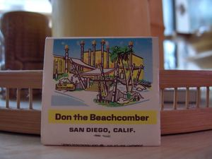 Matchbook from Don the Beachcomber in San Diego