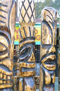 Tikis for sale at Tikis Woodcarvings in North Myrtle Beach