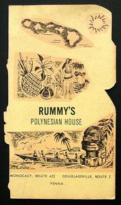 Back of menu from Rummy's Polynesian House in Monocacy