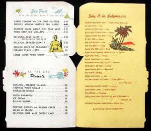 Inside of menu from Rummy's Polynesian House in Monocacy