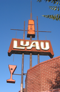 Sign for Luau in Fresno