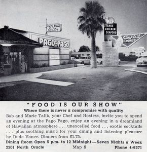 Ad from an April 1956 Visitor's Guide for Pago Pago in Tucson