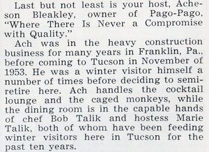Description in a 1956 Visitor's Guide of Pago Pago in Tucson