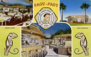 Postcard with picture of host and owner Phil Kessler from Pago Pago in Tucson