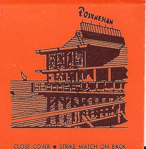 Detail from a matchbook, with a rendering of the building, from Polynesian in Redondo Beach
