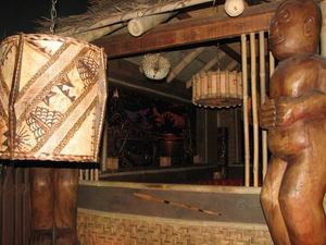 Looking into the tiki hut at Thatch in Portland