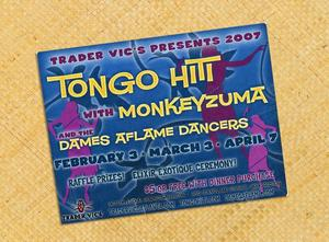Card announcing Tongo Hiti performance at Trader Vic's in Atlanta