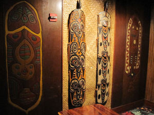 Carved Papua New Guinea boards at Trader Vic's in Atlanta