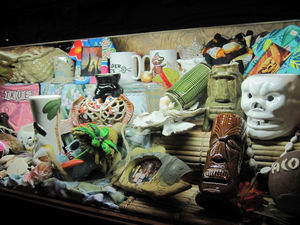 Case with serveware and memorabilia at Trader Vic's in Atlanta
